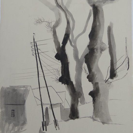 Dessin Roger Excoffon - paysage de Beauce - vers 1946