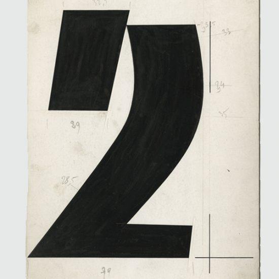 Dessin chiffre 2 en Banco - Roger Excoffon