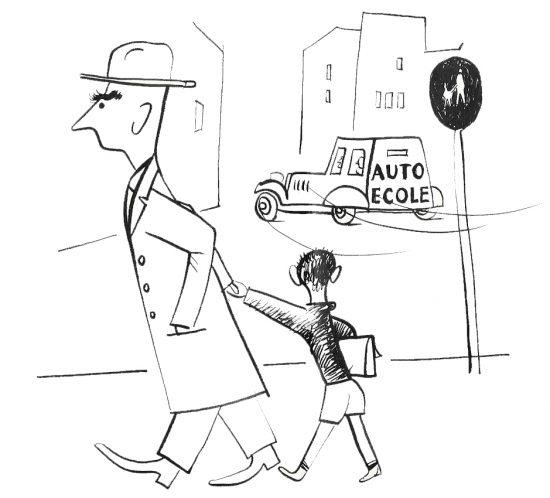 croquis humoristique de Roger Excoffon - l'auto-école