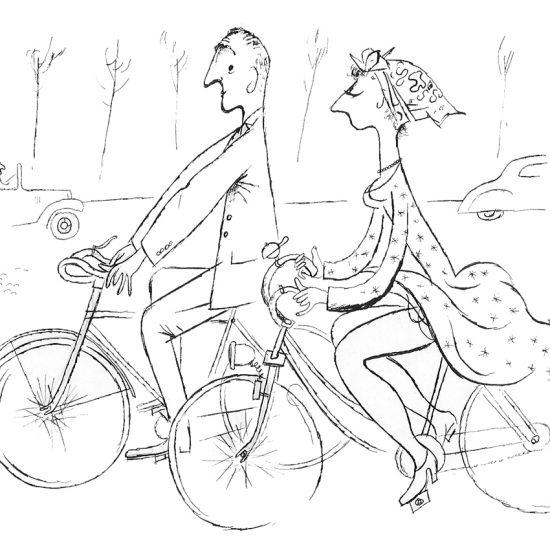croquis humoristique de Roger Excoffon - ballade en vélo